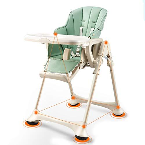 IKEA kinderstoel opvouwbare ligstoel met verstelbare zithoogte en rugleuning - verstelbare dubbele lade en veiligheidsgordel, multifunctionele 4-in-1 baby eettafel en stoel 4-wiel (groen)