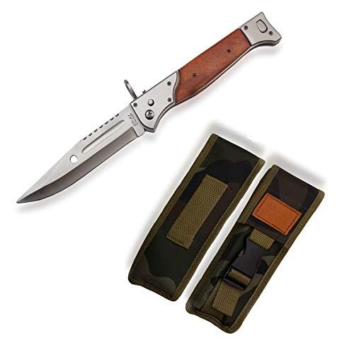 KOSxBO® großes Taschenmesser - AK47 Messer mit Holzgriff - 32 cm Gesamtlänge - ohne Springfeder - legales Messer - AK 47 Klappmesser mit Holster - Gürtelmesser - Freizeit Messer - Kampfmesser -