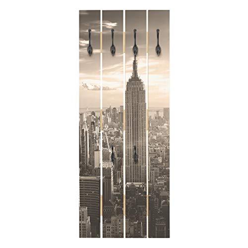 Bilderwelten Perchero de Madera - Manhattan Skyline - Ganchos Negros - Vertical 100 x 40cm