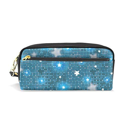 Federmäppchen Tasche Abstrakte blaue Sterne und Fliesen Stifteetui Halter mit Fächern für Schule Student Frauen Kosmetik Taschen Leder
