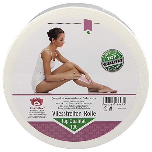 Kosmetex Vliesrolle für Wachs, 100 m x 7 cm, Vliesstreifen für die Haarentfernung mit Warmwachs und Zuckerpaste, 1 Rolle Top Qualität