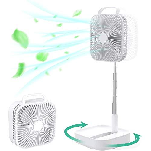 Plegable oscilante del ventilador, 4 velocidad de los ventiladores plegables portátil, ultra silencioso Fan Box, Suelo Altura del ventilador ajustable, USB 10000mAh Desarrollado Ventilador de mesa, ve