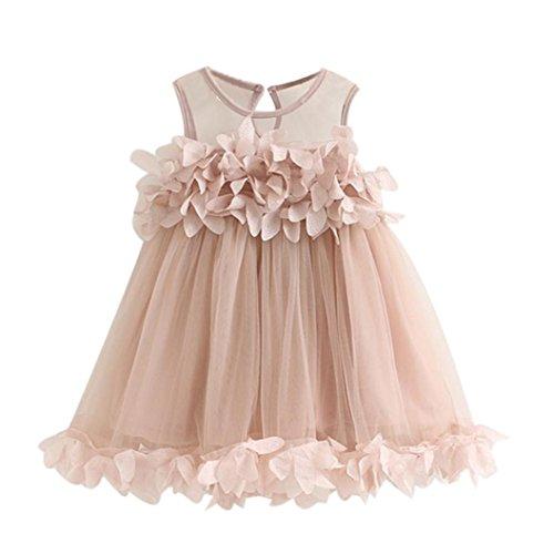 K-youth® 1-6 Años Ropa Bebe Niña Dulce Flor Vestidos Niña Fiesta Sin Mangas Tutú Princesa Vestido (Rosa, 2-3 Años)