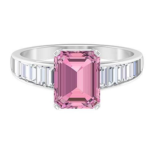 Anillo solitario de turmalina rosa con forma de octágono, 7 x 9 mm, con forma de baguette, zafiro blanco, anillo de compromiso de oro (calidad AAA), 14K Oro blanco, Turmalina rosa-1, Size:EU 54