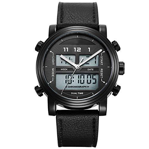 REYUAN Relojes del Reloj Digital for los Hombres, Deportes Reloj de Cuarzo Digital electrónica de LED Impermeable Militar Cronógrafo Fecha Reloj, Minimalista Relojes Correa de Cuero (Color : A)
