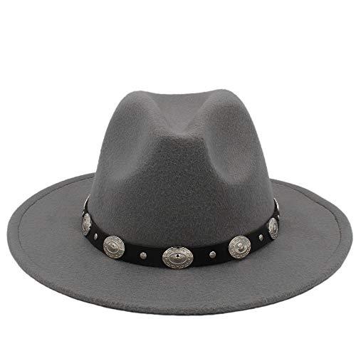 YUXINXIN Hot Koop Goedkoop Unisex wol Jazz Hoeden Mens fedora hoed Vrouwen vilthoed Cowboy Hoeden van Panama for vrouwen Derby fedoras (Color : Gray, Size : 56-58cm)