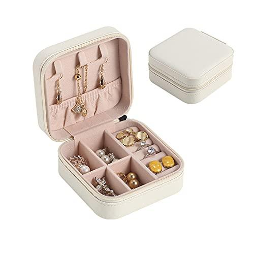 JTKJ Schmuck-Aufbewahrungsbox für unterwegs, klein, tragbar, zur Aufbewahrung von Ohrringen, Ohrringen, Ringen und Halsketten, Kreuzmuster, weiß, 10 x 10 x 5 cm.