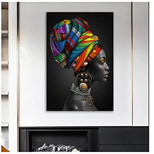 Cuadro en lienzo de mujer africana, carteles e impresiones de mujeres doradas y negras,decoración de pared,cuadrosartísticos para el diseño del hogar, 40x60 cm (15,7x23,6 pulgadas)