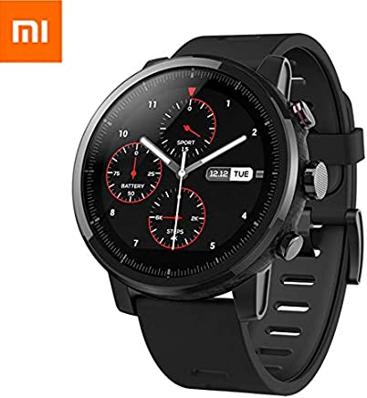 Xiaomi Amazfit Stratos 2 Smartwatch Reloj Inteligente Deportivo con GPS Bluetooth Pantalla Táctil Monitor de Ritmo Cardíaco 5ATM Impermeable Versión en Inglés Negro