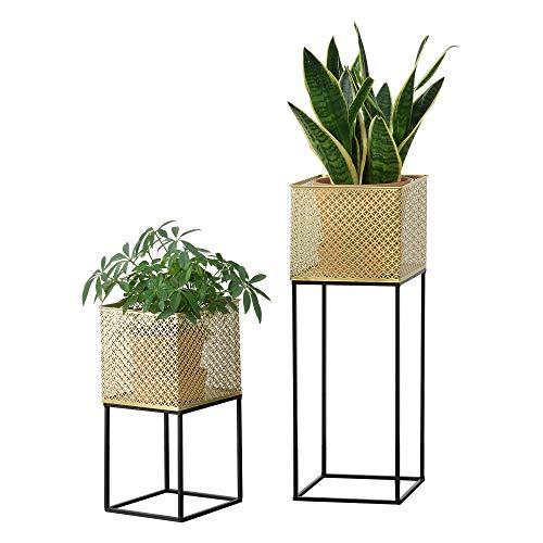 [en.casa] Set de 2 x Soportes de Flores Juprelle con Macetero Estantes para Plantas Estilo Decorativo Metal Negro y Dorado