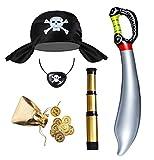 Seawhisper Piratenkostüm Kinder Kostüm Zubehör Pirat Jungen Mädchen Piratenhut Fernrohr Augenklappe Piratensäbel Goldmünze Piraten Hut Accessoires Set