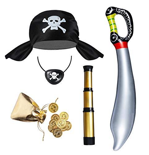 Seawhisper Costume de pirate pour enfant - Accessoire de costume de pirate pour garçon et fille - Chapeau de pirate - Lunette longue-vue - Cache-œil - Sabre de pirate - Pièce d'or - Chapeau de pirate