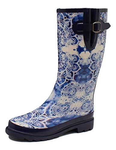 Blazin Roxx Outdoor Boots Women Barn Rain Tie Dye 9 B Blue White 58185