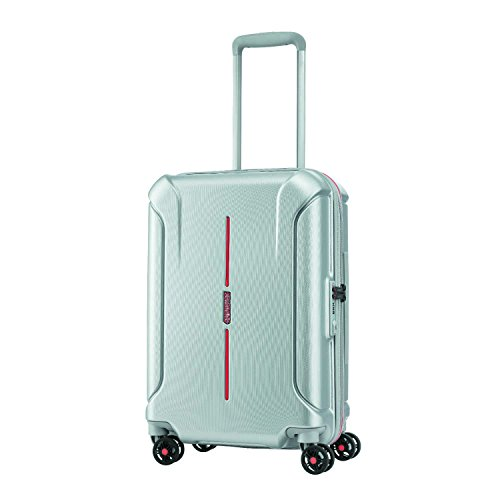 American Tourister Technum Hardside Luggage with Spinner Wheels, Grey/Red, Checked-Large 28-Inch