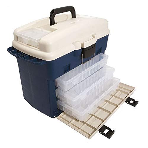 Lineaeffe Mallette Blue 44 x 25.5 x 32 cm Boîte de Pêche Msllette Rangement Accessoire Leurre Hameçon Tackle Box Plastique