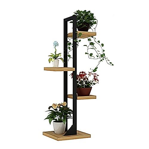 MDELRulde Estantería para Macetas, Soportes para plantas Flores,Estante Plantas de 4 capas, para Jardín Exterior Interior Terraza,Metal y madera (Color : Black)