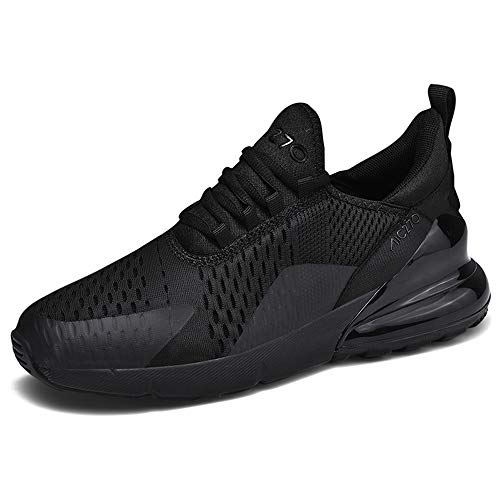 Men Women Running Shoes Air Cushion Sports Trainers Breathable Lightweight Sneakers for Walking Gym Jogging Fitness Athletic Casual(Black LT,9.5 UK)