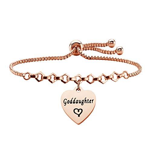 QIIER Godmother Goddaughter Adjustable Chain Bracelet Christian Baptism Gift for Godmothers Goddaughters (Rose Gold Goddaughter Bracelet)