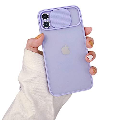 OWM Coque iPhone 11, Protection Antichoc, élègant Dos givré[Couvre-Objectif Coulissant]. Étui Mince en Silicone avec Pare-Chocs pour téléphone Apple iPhone 11 (2019) - Lilas