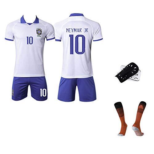AELN kindervoetbalshirt set wit pak 10 # Neymar Unisex trainingsuniform atleten Jersey tieners sportswear mesh sneldrogende korte mouwen fans sweatshirt