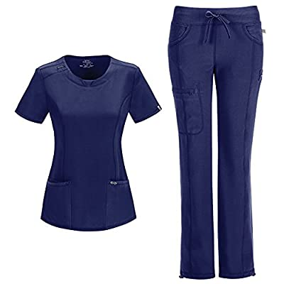Infinity by Cherokee Womens 2624A Round Neck Top with badge loop & 1123A Straight Leg Low Rise Comfort Pant Medical Uniform Scrub Set Top & Pants (Navy - Small / Small Petite)