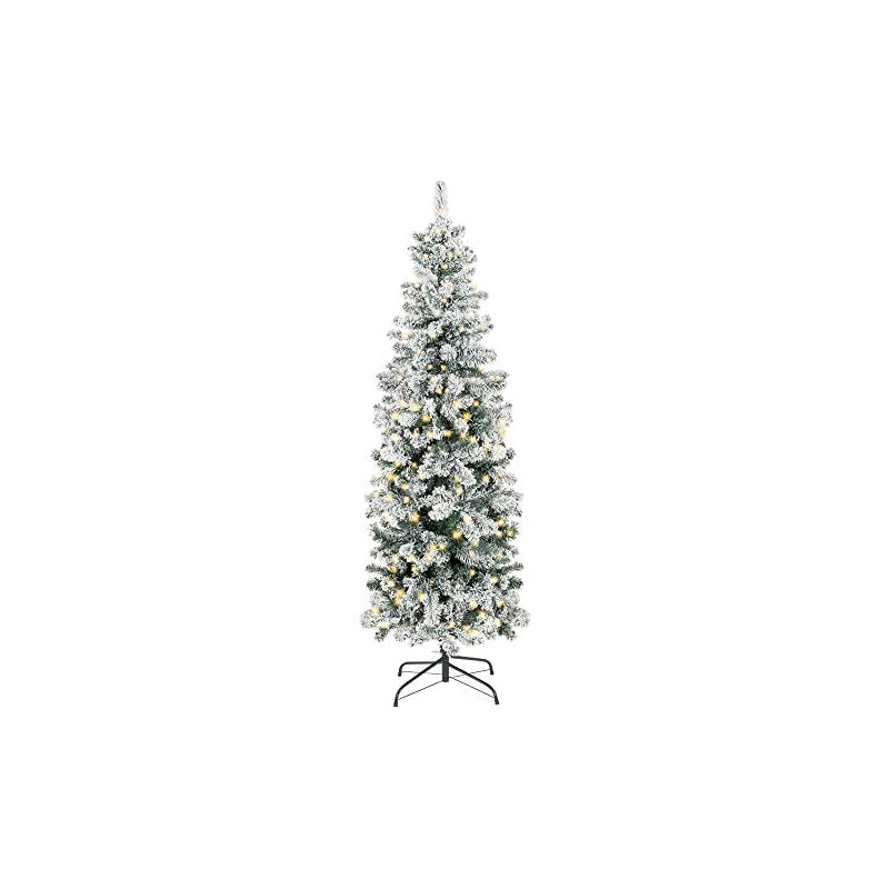 silk flower arrangements best choice products 7.5ft pre-lit artificial snow flocked pencil christmas tree holiday decoration w/ 350 clear lights