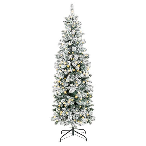 Best Choice Products 7.5ft Pre-Lit Artificial Snow Flocked Pencil Christmas Tree Holiday Decoration w/ 350 Clear Lights