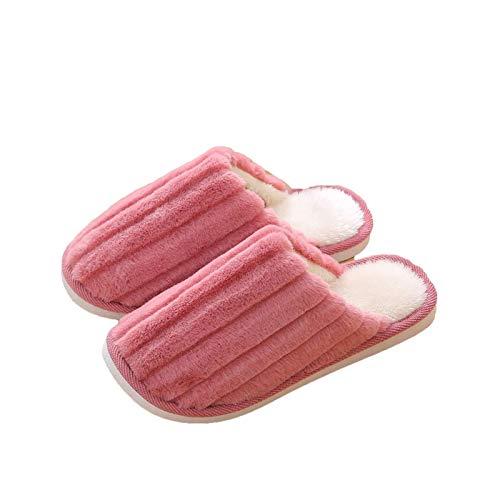 Zapatillas de la casa cómoda para Hombre para Mujer Comfort Bedroom Scoffs Slippers Indoor Outdoor Anti Skid Sole Slippers Zapatos con Forro de Peluche Caliente, Cuero Rojo, 36/37 TINGG