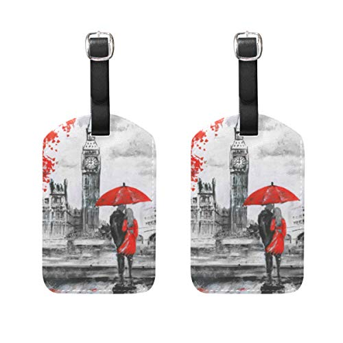 Chic Houses London Street - Etiquetas de cuero para equipaje de Big Ben para parejas, equipaje de viaje, etiqueta de identificación para maleta 2031576