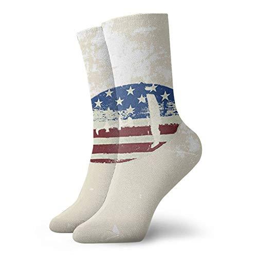 Calcetines cortos unisex para adultos con la bandera de Estados Unidos de algodón clásicos para hombre y mujer, para correr, fitness y deportes