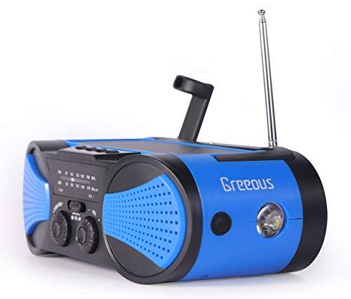 Gresen防災ラジオ AM FM SOS警報 太陽光手回し充電 携帯電話充電 懐中電灯 震災台風停電対策 4000mAh 青