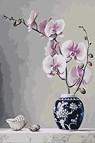 Verf door cijfers voor volwassenen en kinderen DIY olieverfgeschenken Kits Voorgedrukte Canvas Art Home Decoratie -Roze Bloemen in Vintage Vaas 45x60cm