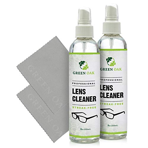 Lens Cleaner Spray Kit – Green Oak Professional Lens Cleaner Spray with Microfiber Cloths – Best for Eyeglasses, Cameras, and Lenses - Safely Cleans Fingerprints, Dust, Oil (8oz 2-Pack)