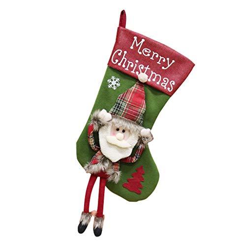 Takkar Feliz Navidad Medios colgantes 3D Santa Santa Santa Santa Santa Santa - Medias de Navidad de reno para árbol de Navidad, decoración de fiesta, algodón, a