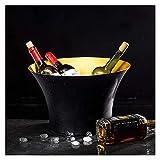 AGGF Cubo de Hielo para Bar de cócteles, Cubo de champán Negro, Mini Barras para el hogar, Enfriador de Bebidas Grande, Cubo de Cerveza Grande, Cubo de Hielo de Cerveza de Metal Ovalado, para fie