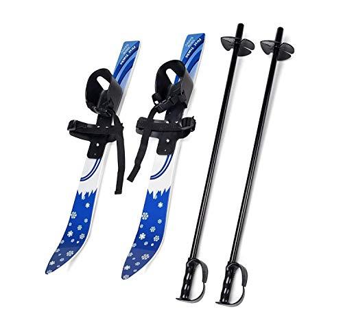LXT PANDA Kurze Ski für Schnee, Kinder-Schneeski und -stöcke für Anfänger, Unisex Freestyle Snowboard-Skates, verstellbare Skischuhe, Skischlitten, Outdoor-Skisport-Wintersportausrüstung.