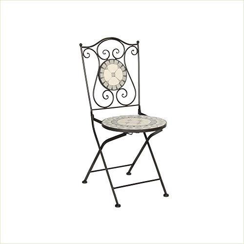 acamp Mosaik-Stuhl Emilia Romagna | 2er-Set Gartenstühle | Gartenmöbel | Anthrazit/Ecru und Grau | Sitz und Rückenlehne mit Mosaikeinsätzen | 38x38x92cm | Eisen-Gestell pulverbeschichtet | Klappstuhl