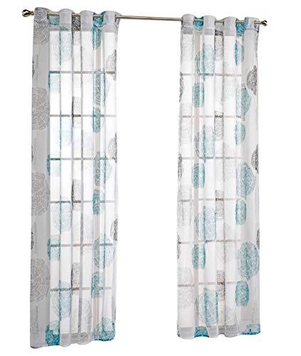7Morning 2er Pack Oesenschal Stickerei Blumen Dekoschal Gardine Schal Voile Vorhang BxH 140x225cm Blau