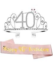 GuKKK Tiara Cumpleaños Corona 21th 40th 60th, Cristal Cumpleaños Corona Diademas Princesa Feliz Cumpleaños de Accesorios, con Peine Faja de Cumpleaños para Suministros para Fiestas de Feliz Cumpleaños