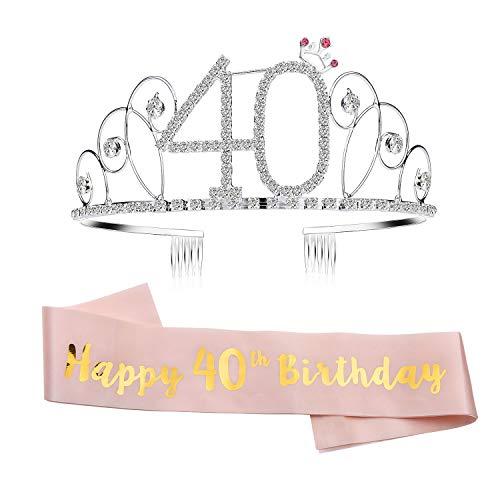 GuKKK Geburtstags-Krone 21. 40. 60. Geburtstags Kristall Tiara Krone Birthday Geburtstag Schärpe Prinzessin Haar-Zusätze Haarreif Tiara Stirnband Mädchen Party Deko Accessoires Geschenk(40)