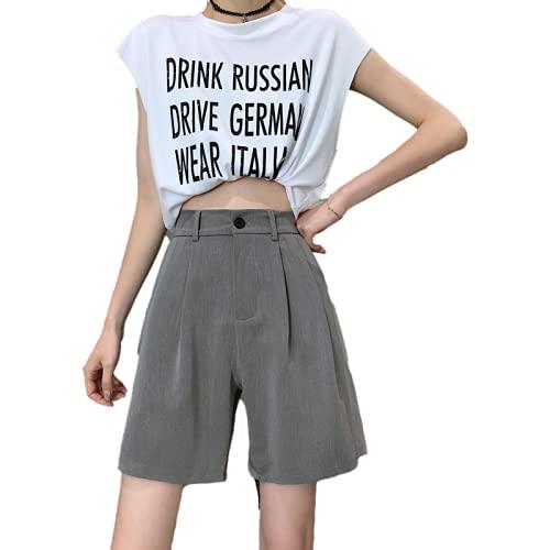 Pantalones Cortos de Mujer Temperamento de Verano Desplazamientos Cortos de Traje Recto Pantalones Cortos Casuales de Cintura Alta de Todo fósforo de Moda L
