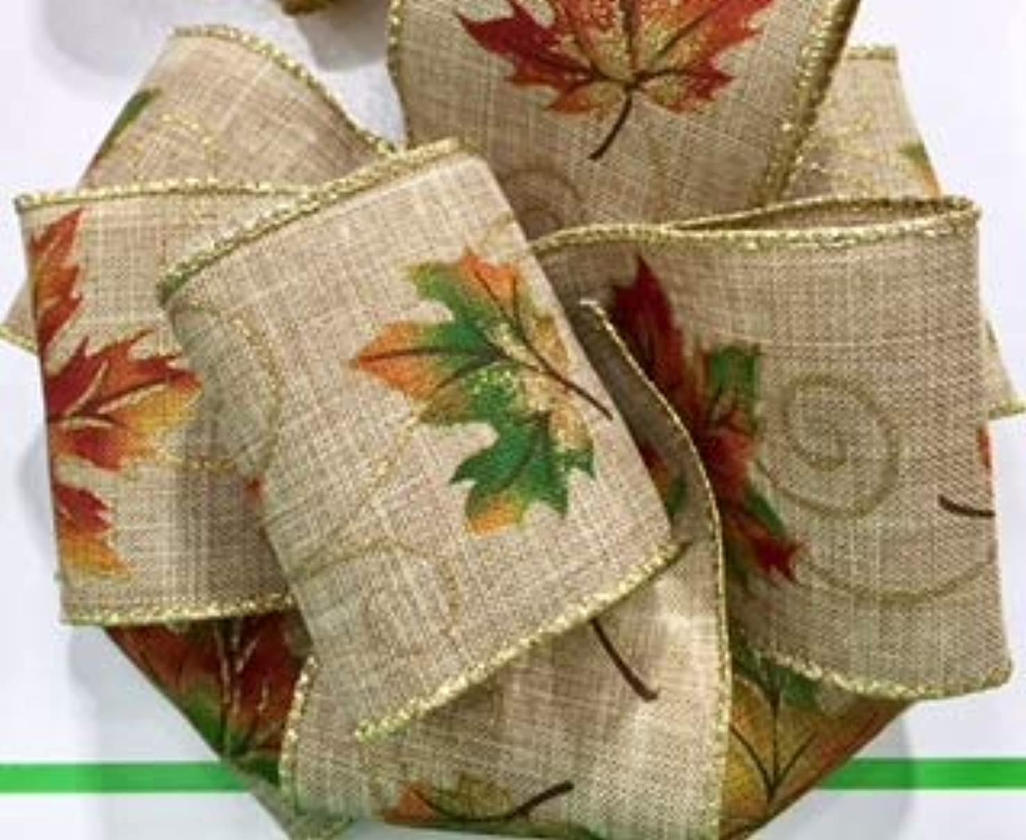 Wired Edge Burlap Ribbon with Fall Themed Leaves and Gold Trim - 100% Polyester 10 Yards, 2-1/4