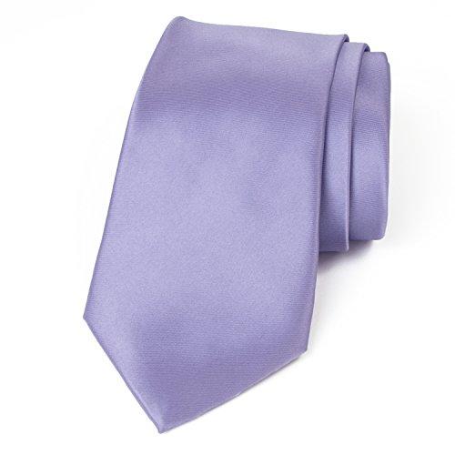 Spring Notion Men's Solid Color Satin Microfiber Tie, Skinny Dusty Lavender