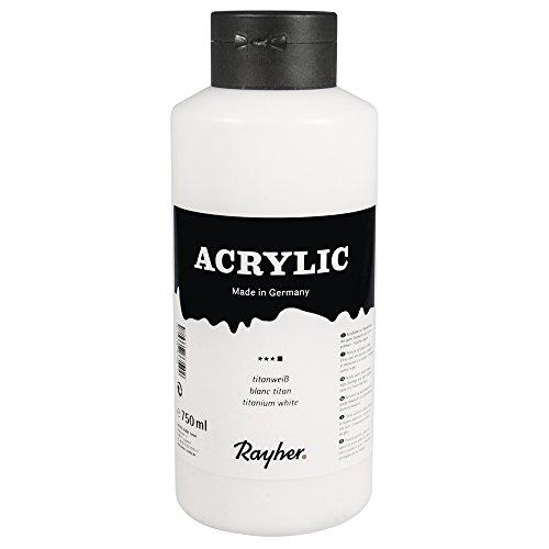 Rayher Hobby 38913101 Acrylfarbe, lichtecht und hochdeckend, titanweiß, 750 ml