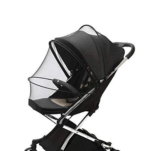 Mosquitera Universal con Cremallera para Cochecito de Bebé o Carrito de Bebé, Malla Fina, Resistente a Desgarros y Lavable; Protección Ideal Contra Avispas y Mosquitos (Negro)
