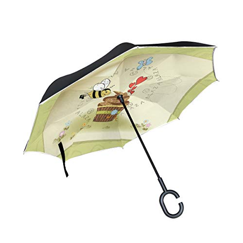 ALINLO Omgekeerde Paraplu Verjaardagskaart Bijen Met Taart, Dubbele Laag Omgekeerde Paraplu Waterdicht voor Auto Regen Outdoor met C-Shaped Handvat