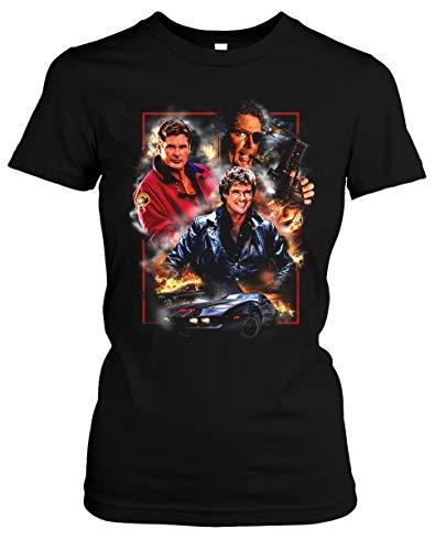 David Hasselhoff Damen T-Shirt | Vintage Baywatch Retro Kult Girlie (L, Druck: Bunt)