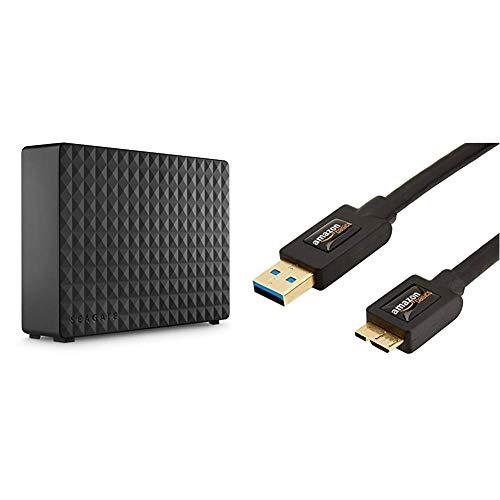 Seagate Expansion Desktop 6 TB Externe Desktop Festplatte (8,89 cm (3,5 Zoll)) & AmazonBasics USB 3.0-Kabel (A-Stecker auf Micro-B-Stecker) 1,8 m (Abwärtskompatibilität zu USB 2.0 und 1.1)