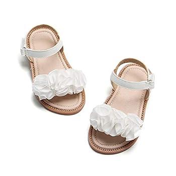 Felix & Flora Girls White Sandals - Toddler Girl Dress Shoes Size 6 for Summer Party Wedding School Flats 6 Toddler,White
