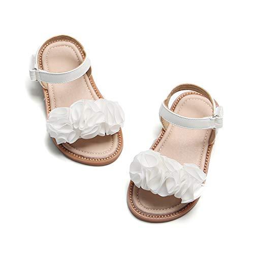 Felix & Flora Girls White Sandals - Toddler Girl Dress Shoes Size 6 for Summer Party Wedding School Flats(6 Toddler,White)